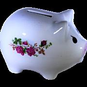 Ceramic Piggy Bank, Small with Tea Roses