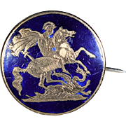 Victorian Blue Enameled Brass St. George Slaying The Dragon Brooch