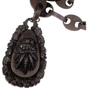 Victorian Vulcanite Chain With Fall/Harvest Pendant
