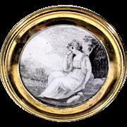 19th Century Ink Drawing Under Glaze on Porcelain