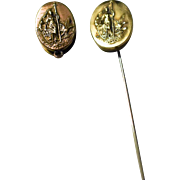 National Insurance Advertising Brass Stick Pin and Fob/Clip