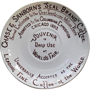 Chase and Sanborn Coffee Co. Souvenir Saucer Chicago World's Fair 1893