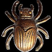 Unusual Brass Scarab Beetle Cloak, Shawl, or Bridle Pin