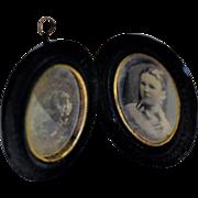 Victorian Gutta Percha Mourning Locket