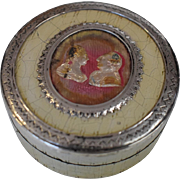 19th Century Wood/Paper Shellacked Snuff/Trinket Box Queen Victoria and Prince Albert