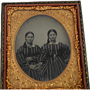 1850's Ruby Ambrotype of Two Women Dressed Alike
