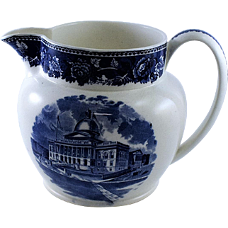1895 Jones McDuffie and Stratton Boston State House Blue and White Pitcher