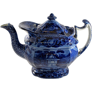 Historic Staffordshire Blue and White Teapot