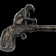 Stevens Cast Iron Monkey With Coconut Gun
