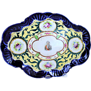 19th Century Handpainted Porcelain Tray Of Marechal Lefebvr of France