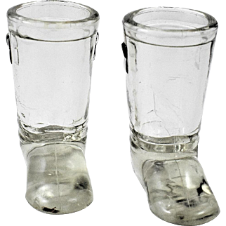2 Glass Boots Candy Containers