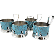 Set of 4 Cloisonne Enameled Silver Plated Russian Tea Cup Holders