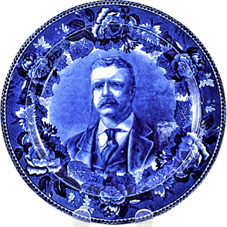 Wedgwood Blue and White Transfer Teddy Roosevelt Plate