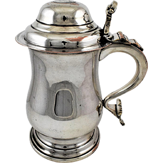 Sheffield Plate 19th Century Lidded Tankard with Dice in the Base