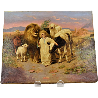 19th Century Chromolithograph of W. Strutt's Peaceable Kingdom