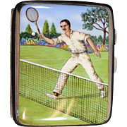Sterling 925 Cigarette Case With Hand Painted Enameled Tennis Player