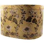 Early American Wallpaper Band Box with Decorated Lid