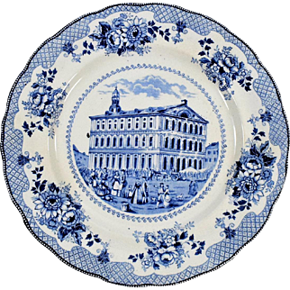Buffalo Pottery Blue and White Plate - Faneuil Hall