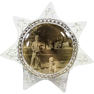Victorian 7 Point Star Glass Frame With Photo of Children in Western Outfits