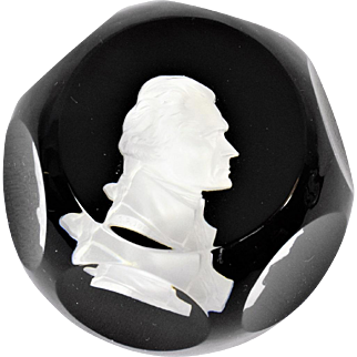 Baccarat Glass  Paperweight with Sulphide of Thomas Jefferson