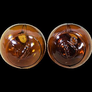 Pair American Glass Amber Target Balls