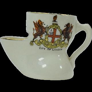 Cyclon H.A.A. & S. Crested China London Souvenir Tea Strainer