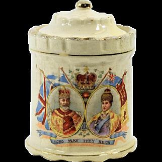 1902 Edward VII Coronation Commemorative Lidded Jar