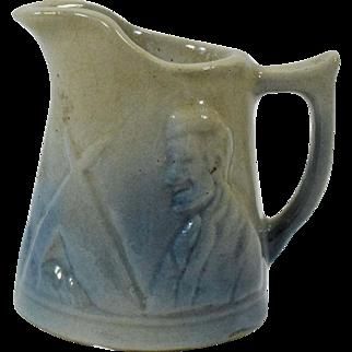 Miniature 3 Inch Blue Stoneware Abe Lincoln Creamer