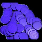 Antique Gaming/Poker Cattle Bone Chips, Blue/Purple