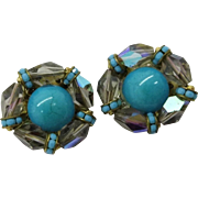 Hattie Carnegie AB Crystal and Turquoise Colored Bead Earrings, Clip-on Designer Earrings