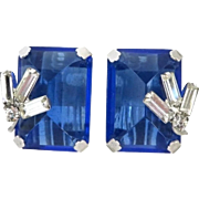 Hattie Carnegie Blue Evening Rhinestone Earrings, Bridal Earrings