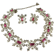 Duane Pink and White Rhinestone Necklace Earrings Set, Silver Tone Bridal Demi Parure