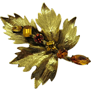 R J Graziano Goldtone and Amber Rhinestone Leaf Pin, 1990s Designer Brooch