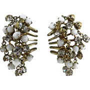 Hattie Carnegie White Bead and Rhinestone Cluster Clip-on Earrings