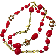 Hattie Carnegie Red and White Bead Long Necklace, Milk Glass Goldtone Necklace