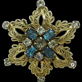 Scitarelli Blue and White Rhinestone Flower Pendant Brooch