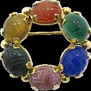Burt Cassell Scarab Brooch, Vintage 12KT Gold Filled Gemstone Circle Pin