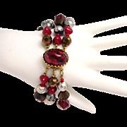 Hattie Carnegie Three Strand Bracelet, Red, Blue, Goldtone and Pearl Colored Bead Bracelet