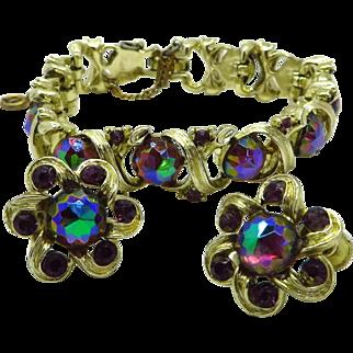 Longcraft Bracelet and Earrings Set, Vintage Watermelon Rhinestone Demi Parure