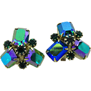 Weiss Green and Aurora Borealis Rhinestone Clip-on Earrings