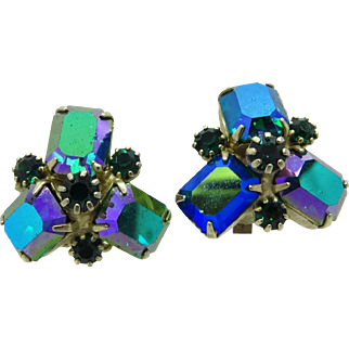 Weiss Signed Green and Aurora Borealis Rhinestone Clip-on Earrings