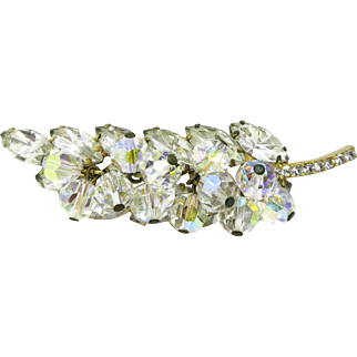Verified Juliana D&E Crystal Brooch, DeLizza and Elster Dangling Leaf Pin, Bridal Gift, Birthday Gift, Anniversary Gift