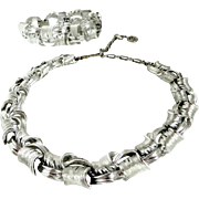 Lisner Silver Tone Chunky Braided Necklace and Earrings Set, Vintage Demi Parure