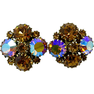 Weiss Topaz and AB Rhinestone Cluster Earrings, Mid Century Designer Signed Clip-on Earrings