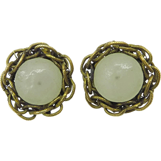 Miriam Haskell Braided Brass and Opaque Glass Button Clip-on Earrings