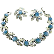Judy Lee Blue Forget-Me-Not Bracelet and Earrings Set, Vintage Demi Parure