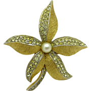 Weiss Poinsettia Gold Tone Rhinestone Faux Pearl Vintage Brooch