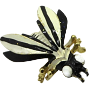 Weiss Black and Cream Enamel Bee Pin, Vintage Gold Tone Wasp Brooch