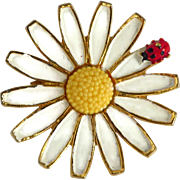 Weiss Gold Tone Daisy Brooch with Ladybug, Vintage Enamel Designer Pin