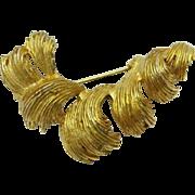 Hattie Carnegie Gold Tone Curved Ridged Leaf Brooch